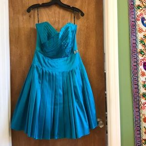 Betsey Johnson Turquoise 1950s Strapless Dress